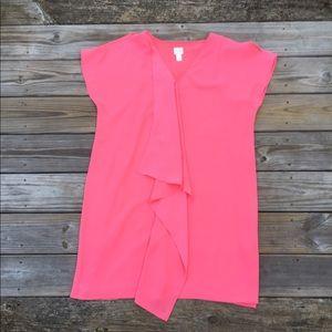 Chico's bright pink cold shoulder flirty dress